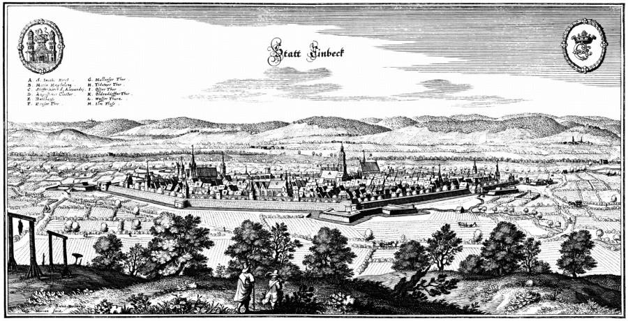 Гравюра с изображением города Айнбек, 1654 год