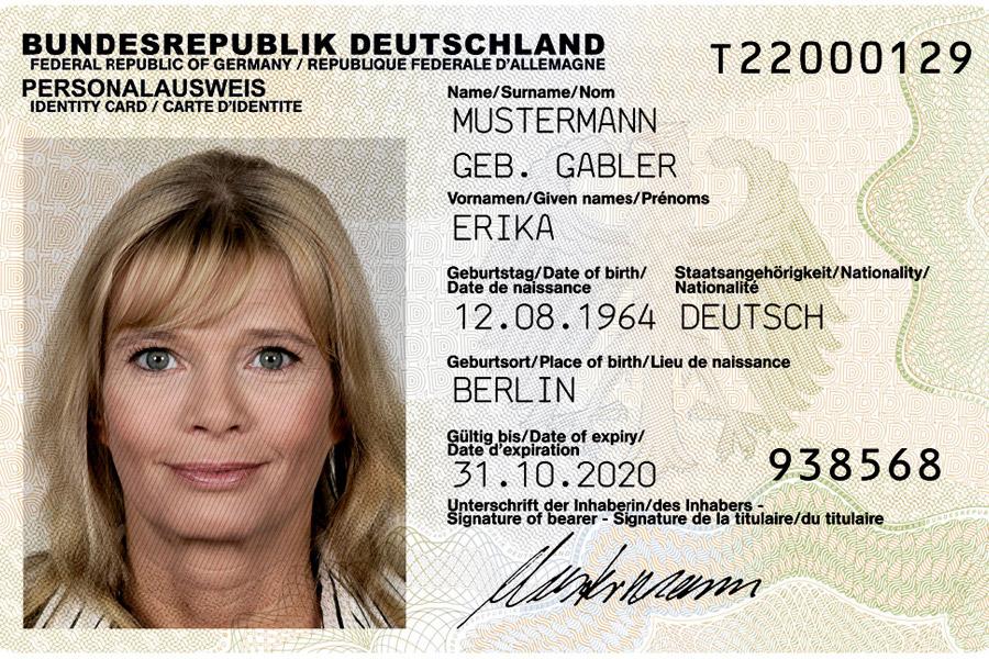 Официальный образец немецкого удостоверения личности— Personalausweis. Изображение: Bundesdruckerei