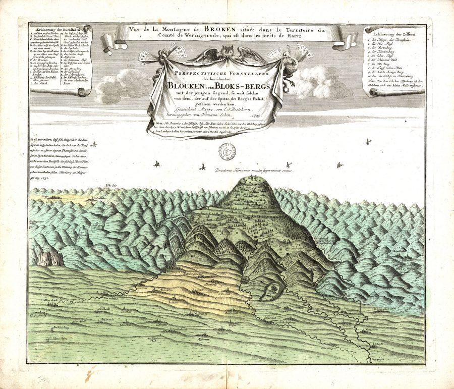 Гора Броккен сроящимися надней ведьмами. L.S. Bestehorn, 1732. Источник: Википедия