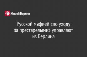 Русской мафией «по уходу                         за престарелыми» управляют                   из Берлина