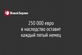 250 000 евро                                                                 в наследство оставит                                               каждый пятый немец