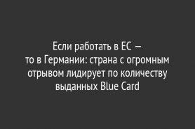Если работать в ЕС — то в Германии: страна с огромным отрывом лидирует по количеству выданных Blue Card