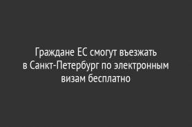 Граждане ЕС смогут въезжать в Санкт-Петербург по электронным визам бесплатно